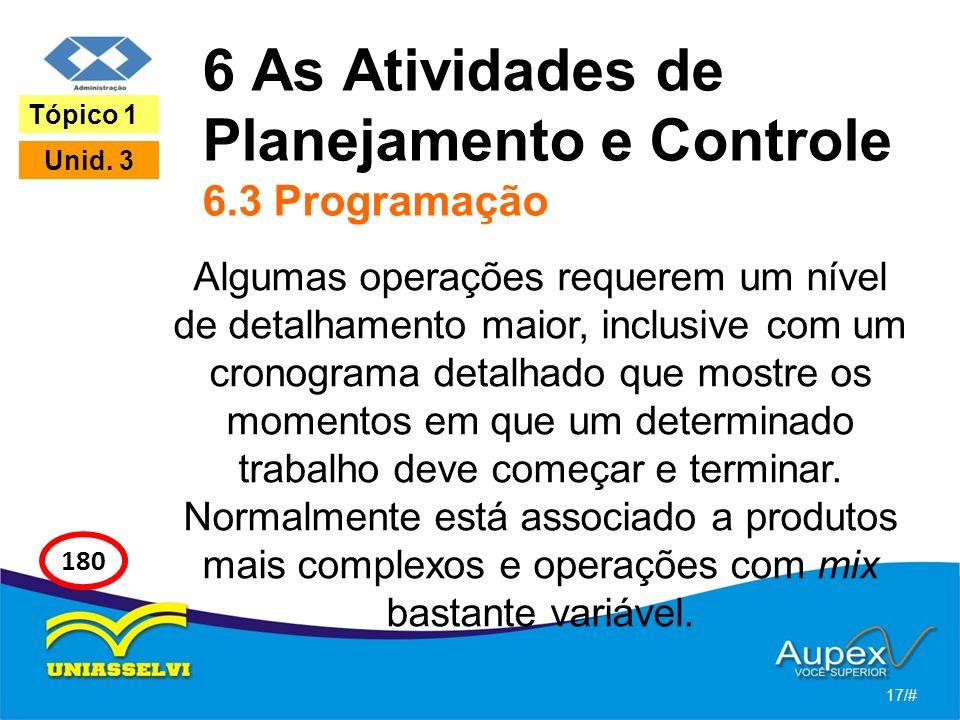 6 As Atividades de Planejamento e Controle 6.3 Programação