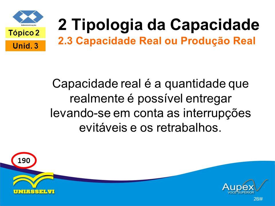 2 Tipologia da Capacidade 2.3 Capacidade Real ou Produção Real