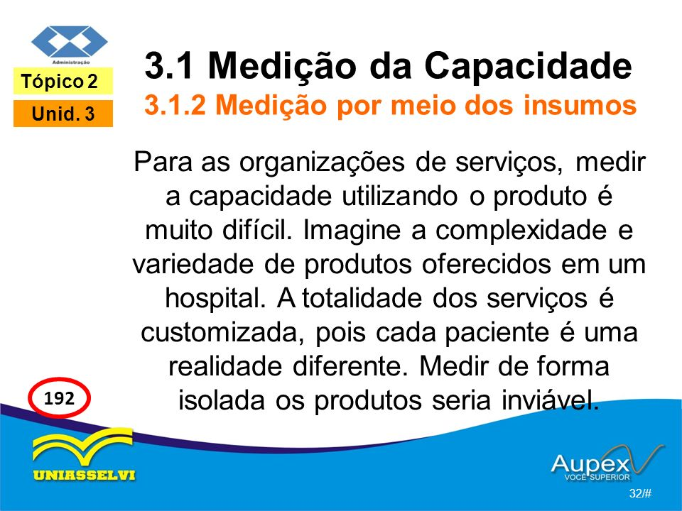 3.1 Medição da Capacidade 3.1.2 Medição por meio dos insumos