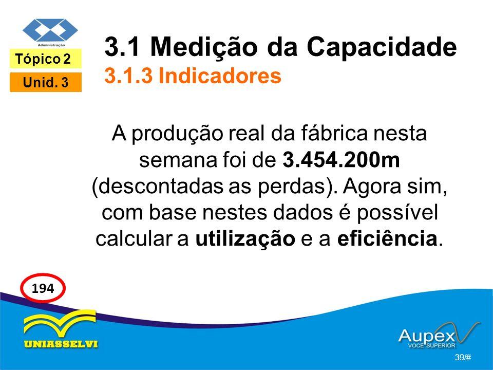 3.1 Medição da Capacidade 3.1.3 Indicadores
