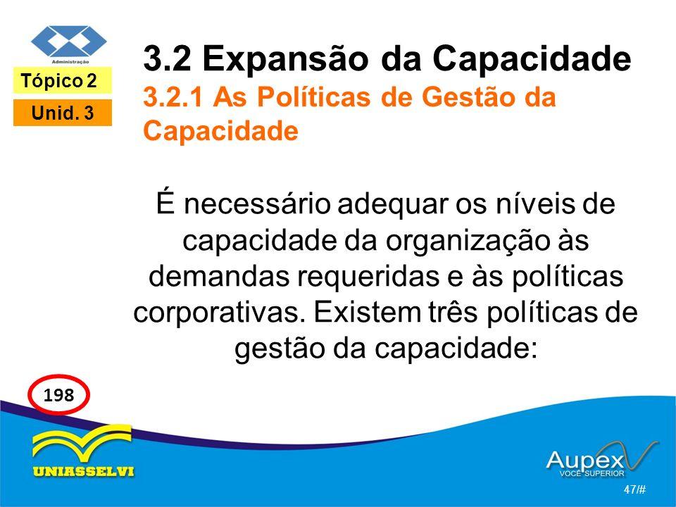 3.2 Expansão da Capacidade 3.2.1 As Políticas de Gestão da Capacidade