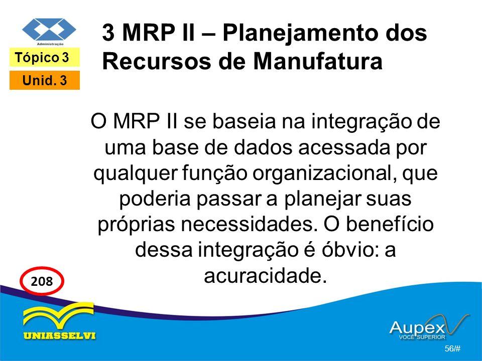 3 MRP II – Planejamento dos Recursos de Manufatura