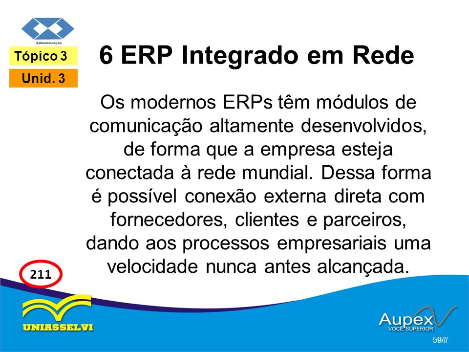6 ERP Integrado em Rede Tópico 3. Unid. 3.