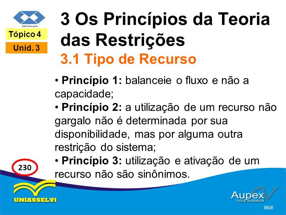 3 Os Princípios da Teoria das Restrições 3.1 Tipo de Recurso
