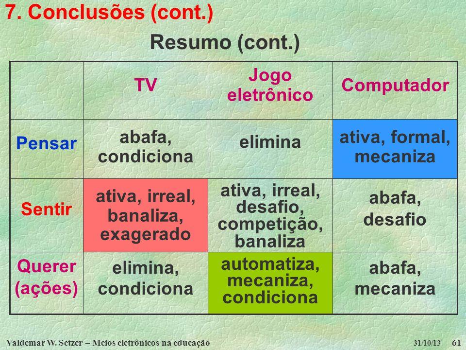 7. Conclusões (cont.) Resumo (cont.) abafa, mecaniza automatiza,
