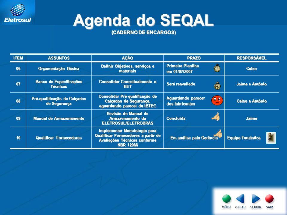 Agenda do SEQAL (CADERNO DE ENCARGOS)