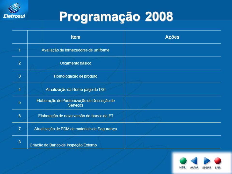 Programação 2008 Item Ações 1 Avaliação de fornecedores de uniforme 2