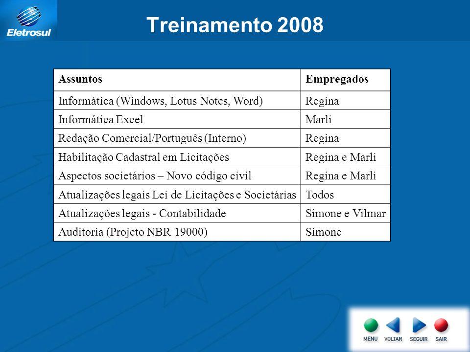 Treinamento 2008 Assuntos Empregados