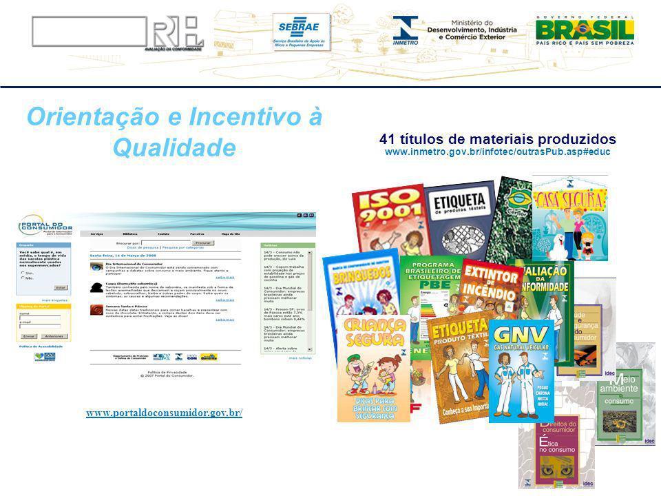 Orientação e Incentivo à Qualidade 41 títulos de materiais produzidos