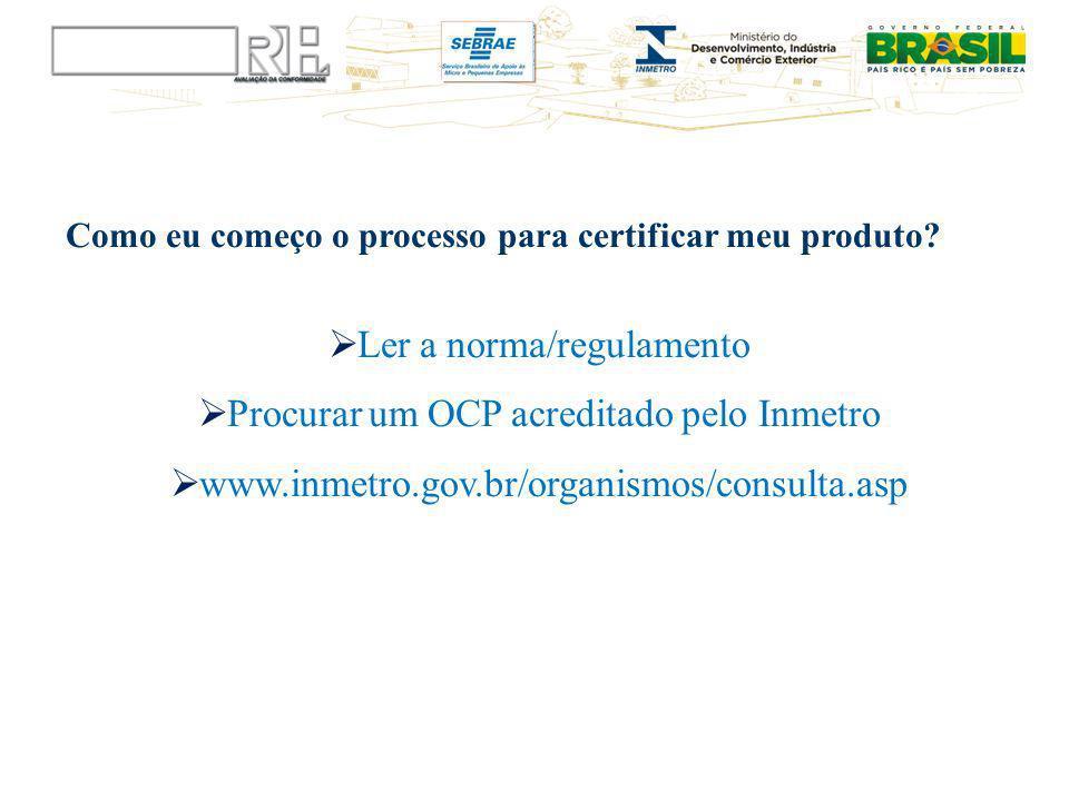 Ler a norma/regulamento Procurar um OCP acreditado pelo Inmetro