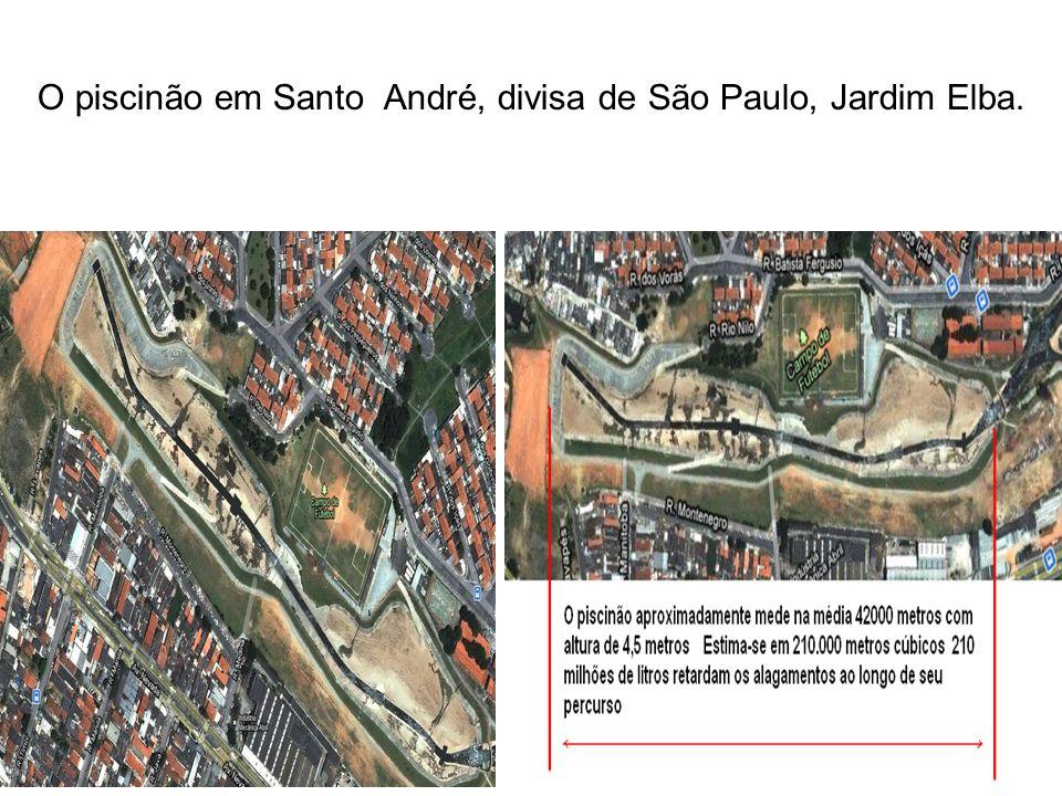 O piscinão em Santo André, divisa de São Paulo, Jardim Elba.
