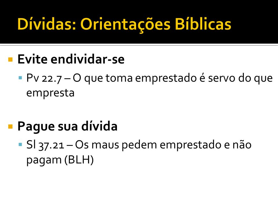 Dívidas: Orientações Bíblicas