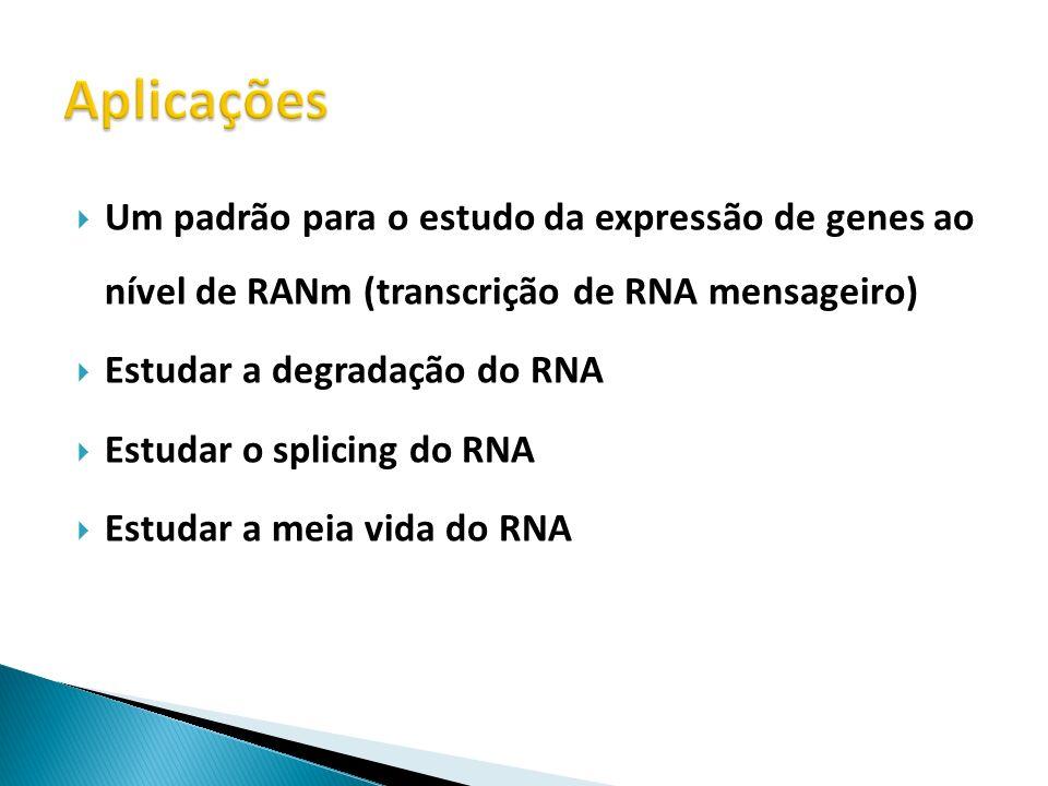 Aplicações Um padrão para o estudo da expressão de genes ao nível de RANm (transcrição de RNA mensageiro)