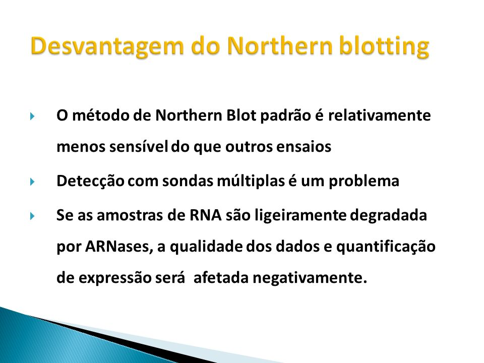 Desvantagem do Northern blotting