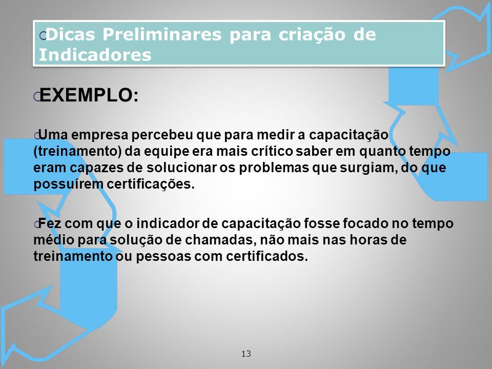 EXEMPLO: Dicas Preliminares para criação de Indicadores