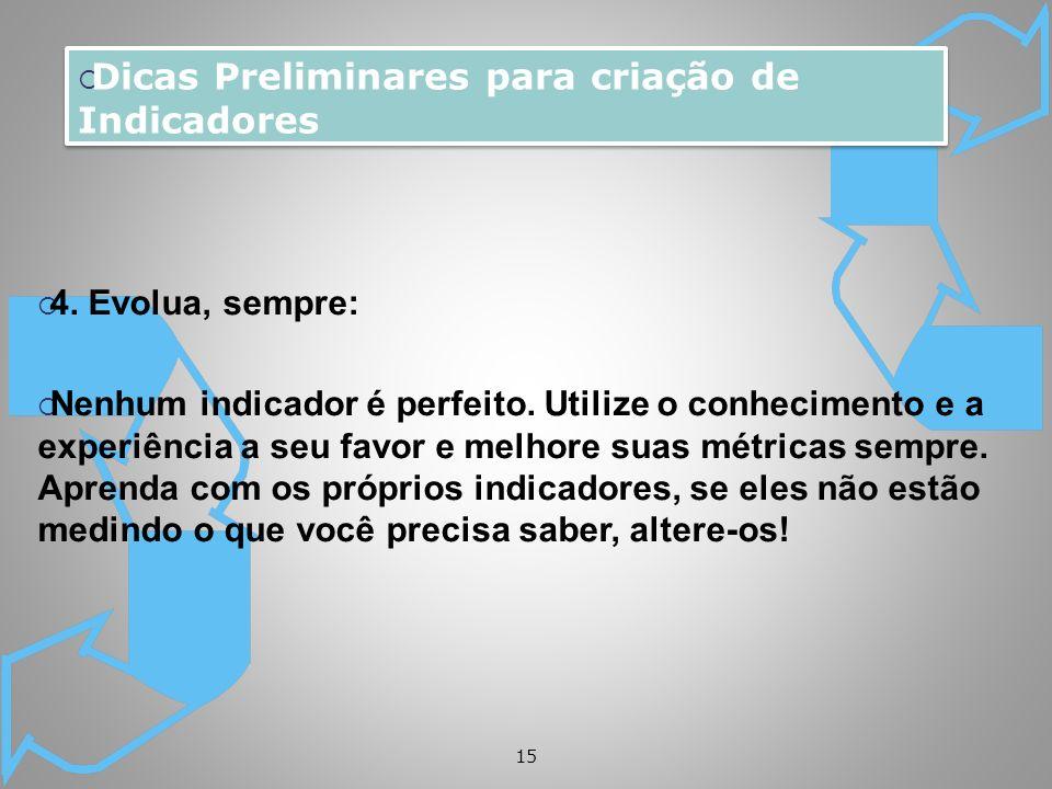 Dicas Preliminares para criação de Indicadores