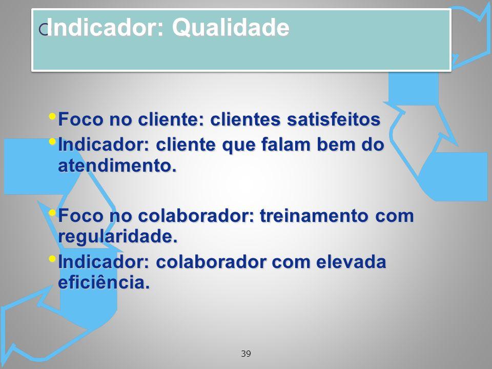 Indicador: Qualidade Foco no cliente: clientes satisfeitos
