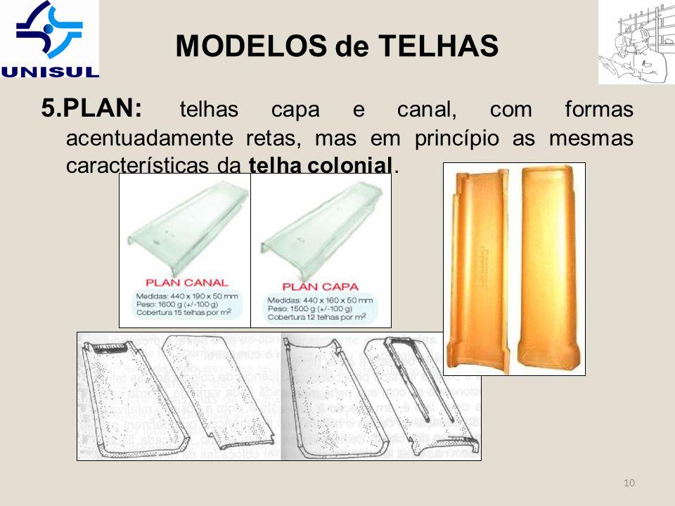 MODELOS de TELHAS 5.PLAN: telhas capa e canal, com formas acentuadamente retas, mas em princípio as mesmas características da telha colonial.