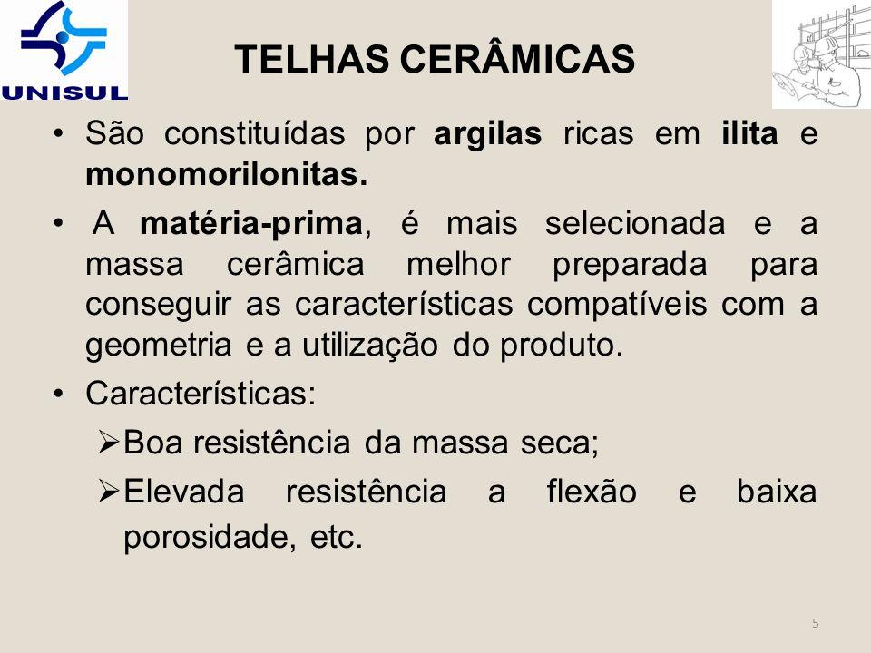 TELHAS CERÂMICAS São constituídas por argilas ricas em ilita e monomorilonitas.