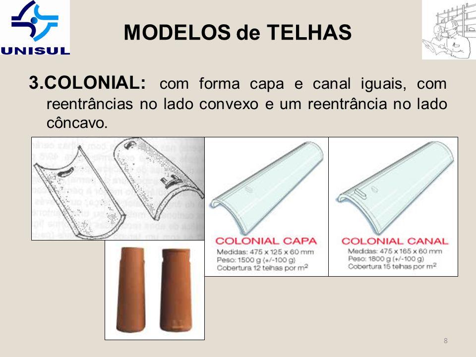MODELOS de TELHAS 3.COLONIAL: com forma capa e canal iguais, com reentrâncias no lado convexo e um reentrância no lado côncavo.