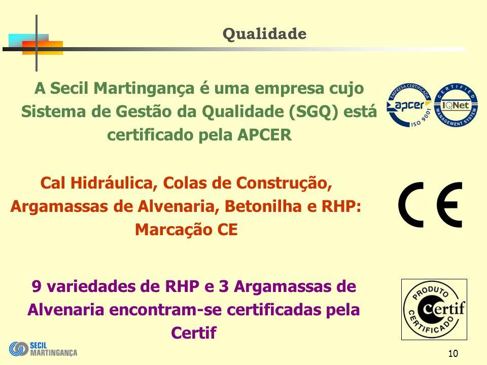 Qualidade A Secil Martingança é uma empresa cujo Sistema de Gestão da Qualidade (SGQ) está certificado pela APCER.