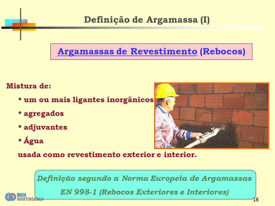Definição de Argamassa (I)