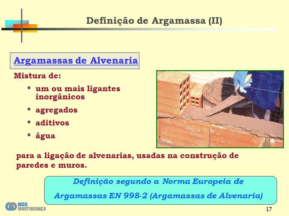Definição de Argamassa (II)