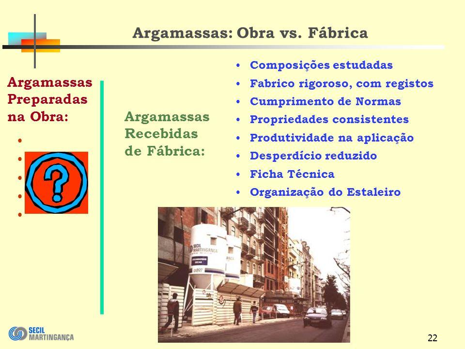 Argamassas: Obra vs. Fábrica