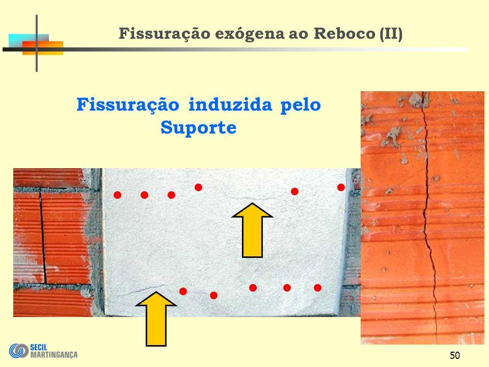 Fissuração exógena ao Reboco (II) Fissuração induzida pelo Suporte