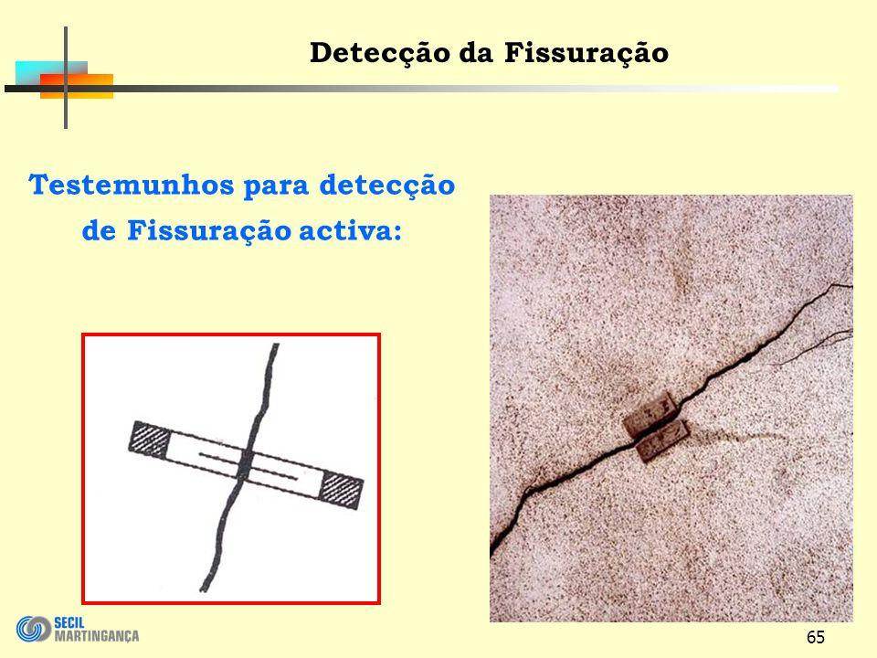 Detecção da Fissuração Testemunhos para detecção de Fissuração activa:
