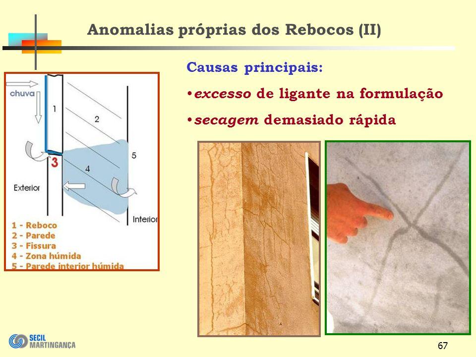 Anomalias próprias dos Rebocos (II)