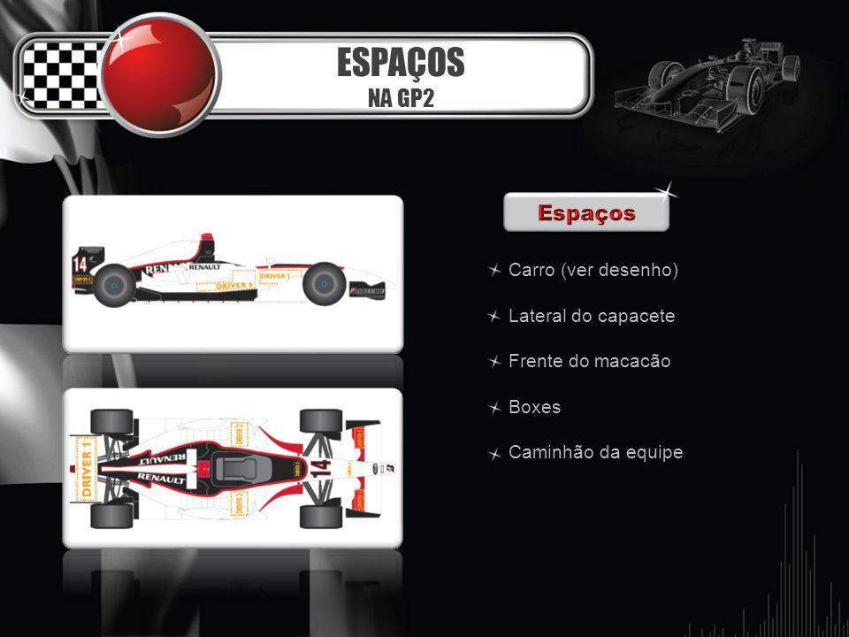 ESPAÇOS NA GP2 Espaços Carro (ver desenho) Lateral do capacete