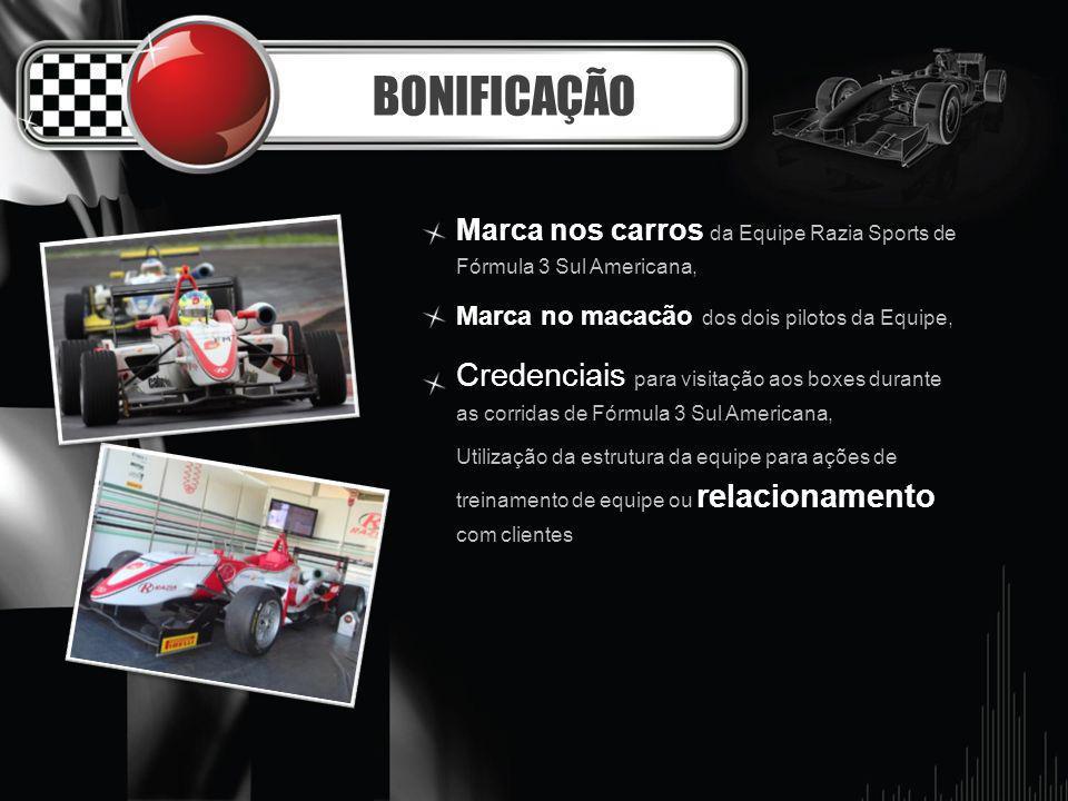 BONIFICAÇÃO Marca nos carros da Equipe Razia Sports de Fórmula 3 Sul Americana, Marca no macacão dos dois pilotos da Equipe,