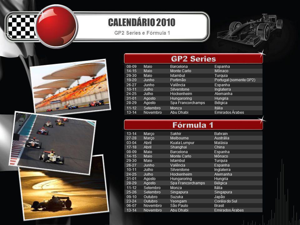 CALENDÁRIO 2010 GP2 Series Fórmula 1 GP2 Series e Fórmula 1 08-09 Maio