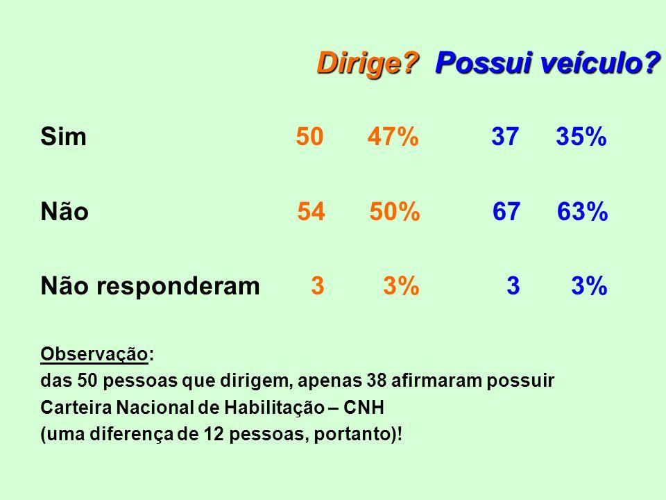 Dirige Possui veículo Sim 50 47% 37 35% Não 54 50% 67 63%