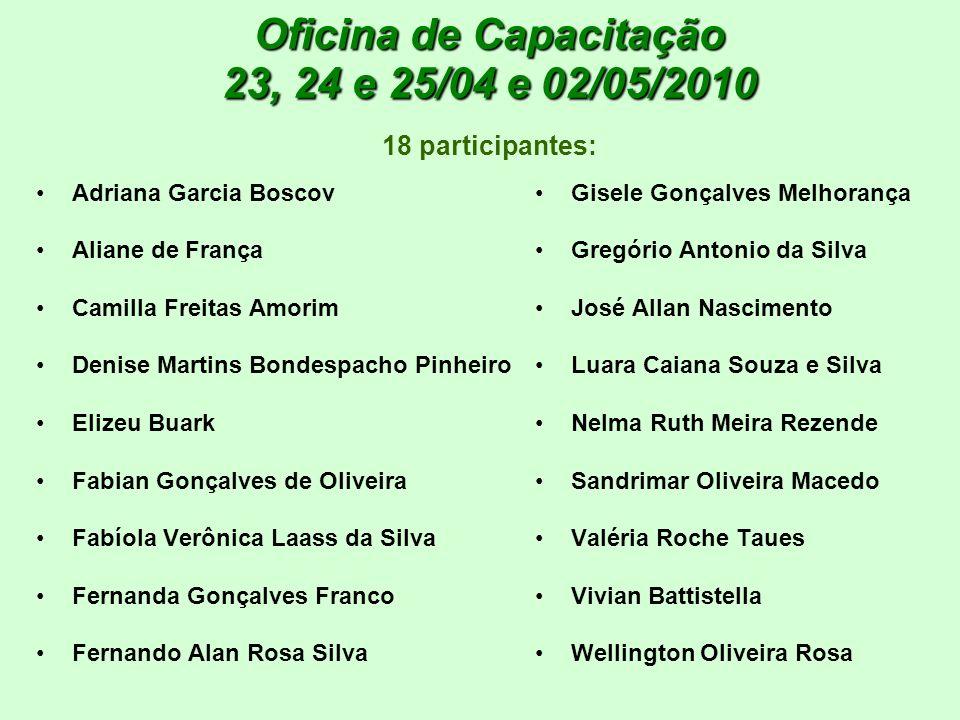 Oficina de Capacitação 23, 24 e 25/04 e 02/05/2010 18 participantes: