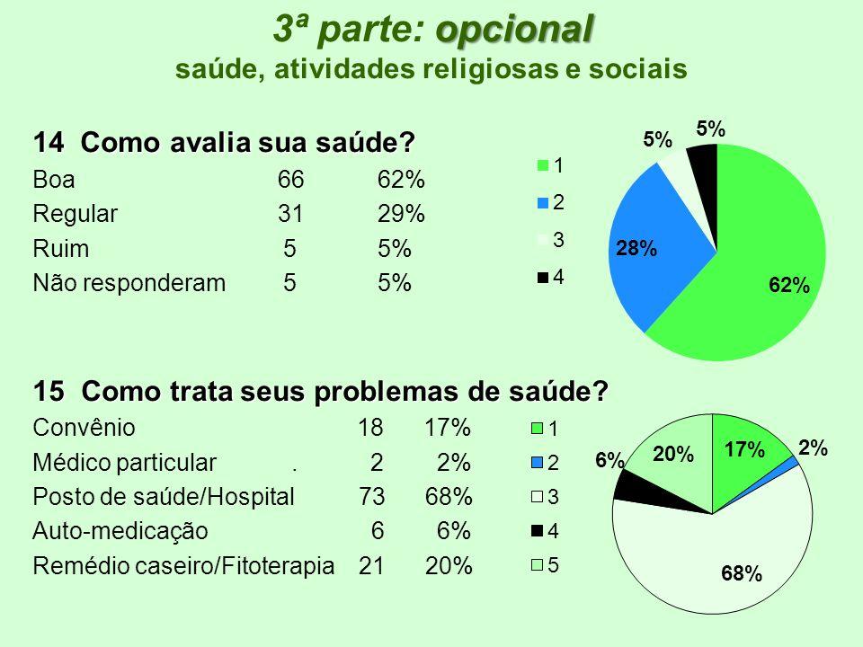 3ª parte: opcional saúde, atividades religiosas e sociais