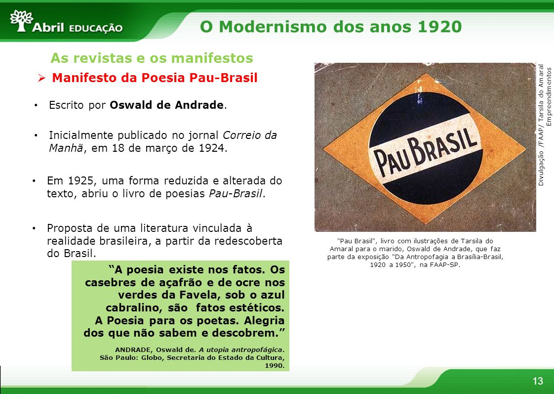 O Modernismo dos anos 1920 As revistas e os manifestos