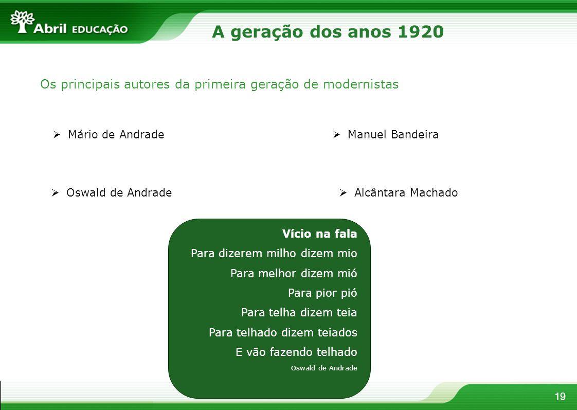 A geração dos anos 1920 Os principais autores da primeira geração de modernistas. Mário de Andrade.