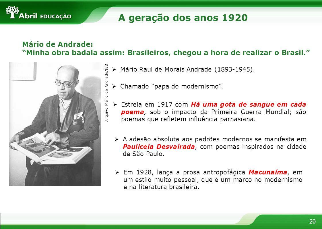 A geração dos anos 1920 Mário de Andrade: