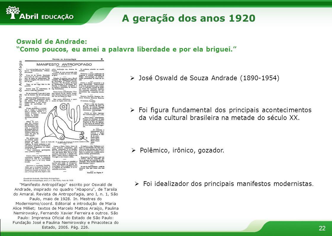 A geração dos anos 1920 Oswald de Andrade: