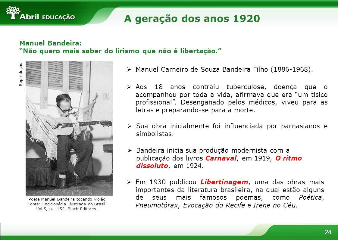 A geração dos anos 1920 Manuel Bandeira: