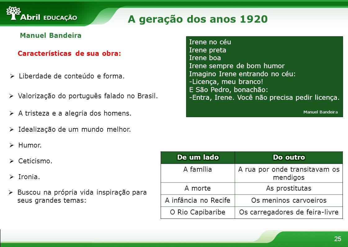 A geração dos anos 1920 Manuel Bandeira Irene no céu Irene preta