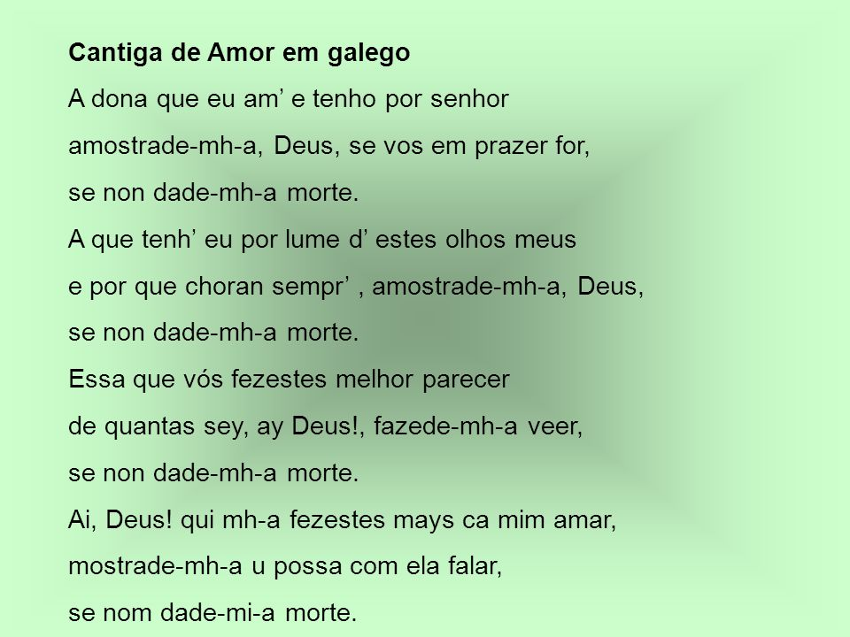 Cantiga de Amor em galego