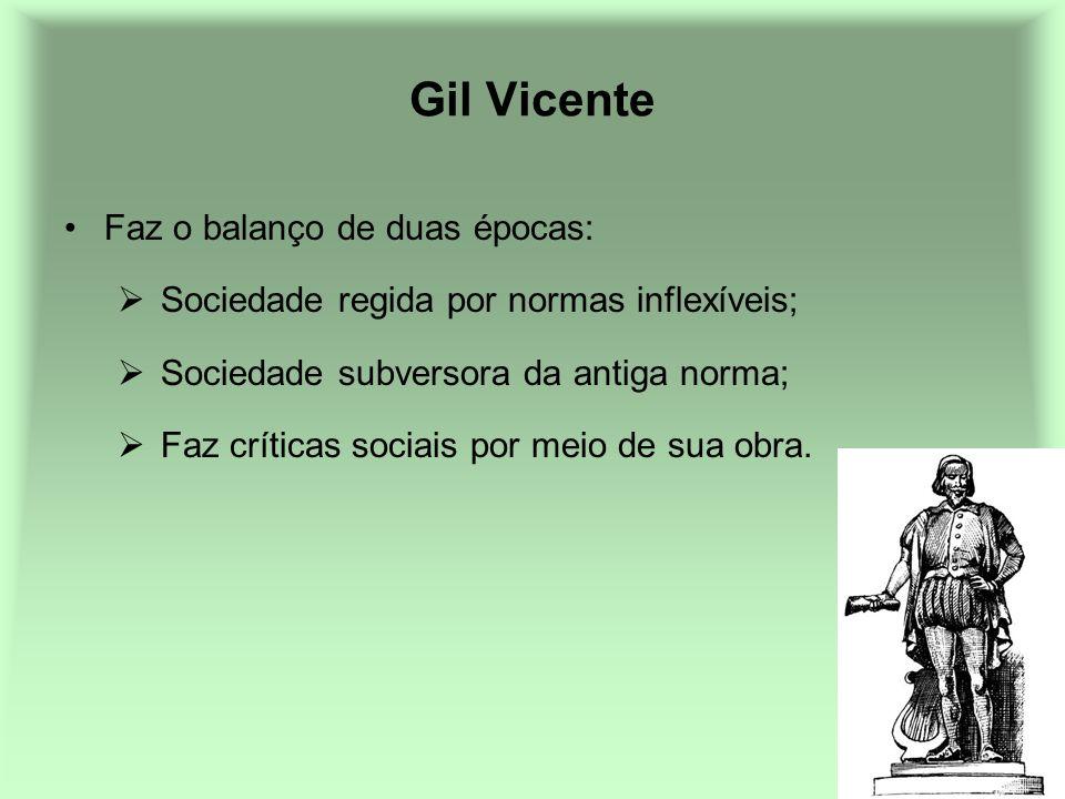 Gil Vicente Faz o balanço de duas épocas: