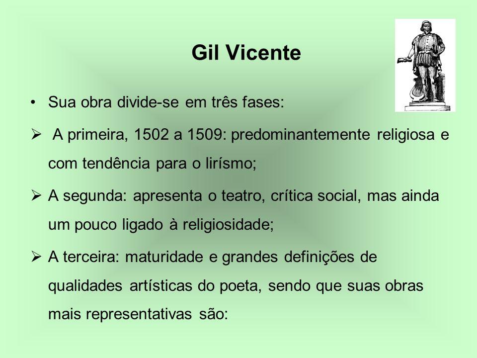 Gil Vicente Sua obra divide-se em três fases: