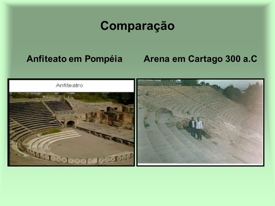 Comparação Anfiteato em Pompéia Arena em Cartago 300 a.C