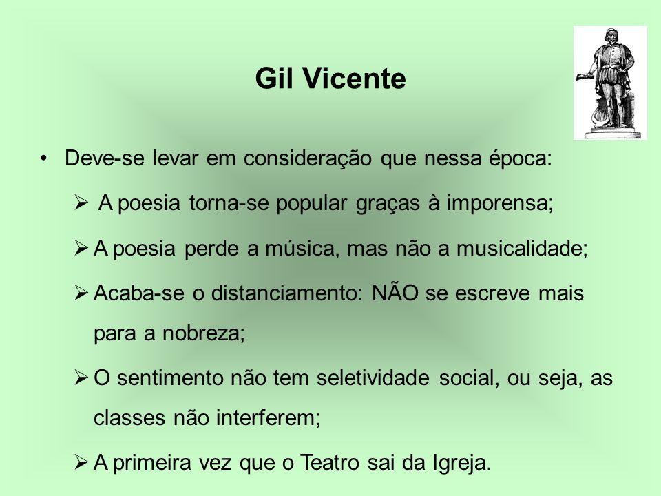 Gil Vicente Deve-se levar em consideração que nessa época: