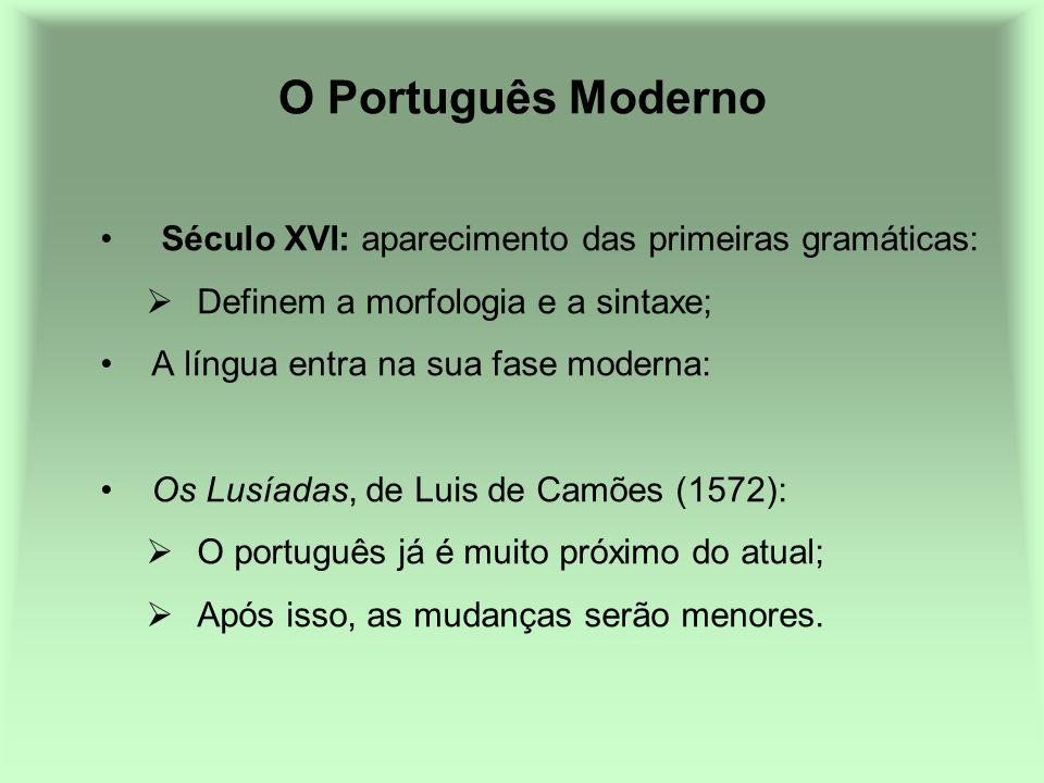 O Português Moderno Século XVI: aparecimento das primeiras gramáticas: