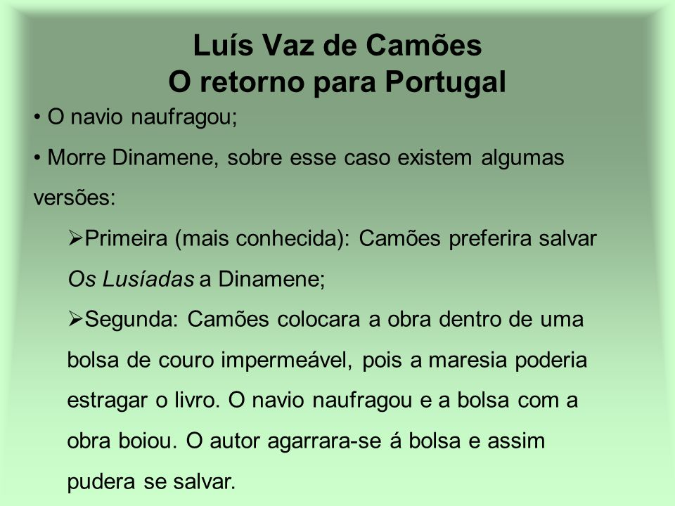 Luís Vaz de Camões O retorno para Portugal